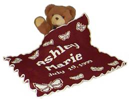 Knit baby blankets personalized for babies.